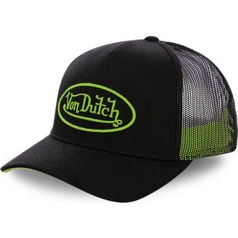 Casquette trucker noire avec logo vert NEO GRE Von Dutch