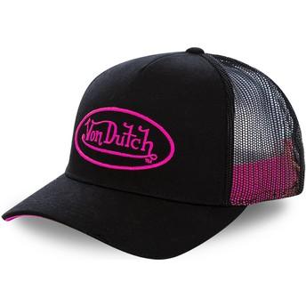 Von Dutch Pink Logo NEO PIN Black Trucker Hat