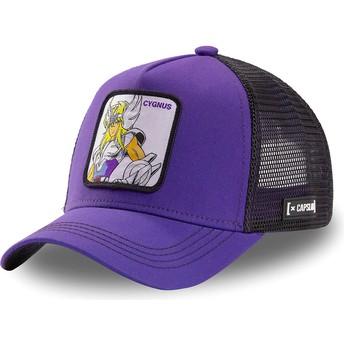 Capslab Cygnus Hyoga CYG2 Saint Seiya: Knights of the Zodiac Purple and Black Trucker Hat