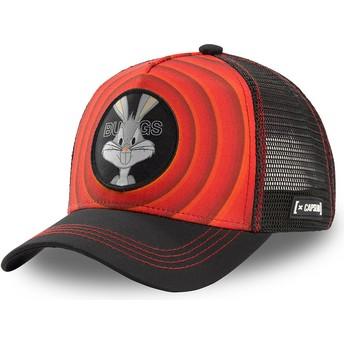 Casquette trucker rouge et noire Bugs Bunny Bullseye Color Rings LOO BUG1 Looney Tunes Capslab