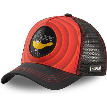 Casquette trucker rouge et noire Daffy Duck Bullseye Color Rings LOO DAF1 Looney Tunes Capslab