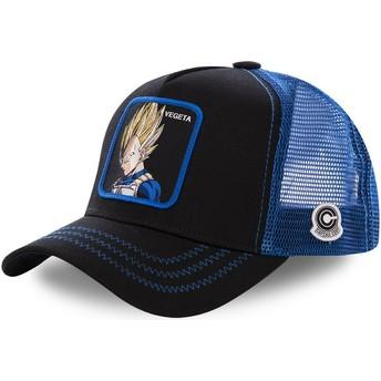 Capslab Youth Vegeta Super Saiyan KID_VE3 Dragon Ball Black and Blue Trucker Hat