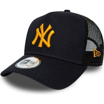 Casquette trucker bleue marine avec logo orange League Essential A Frame New York Yankees MLB New Era