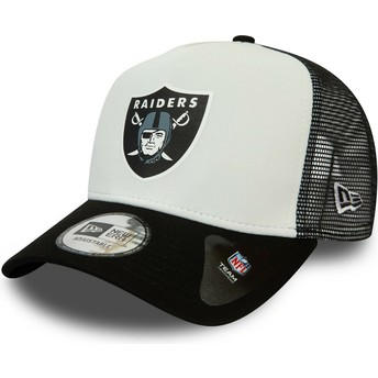 New Era Team Colour Block A Frame Oakland Raiders NFL White and Black Trucker Hat