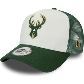 Casquette trucker blanche et verte Team Colour Block A Frame Milwaukee Bucks NBA New Era