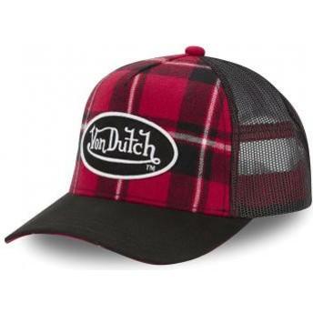 Casquette trucker rouge à carreaux CAR A1 Von Dutch