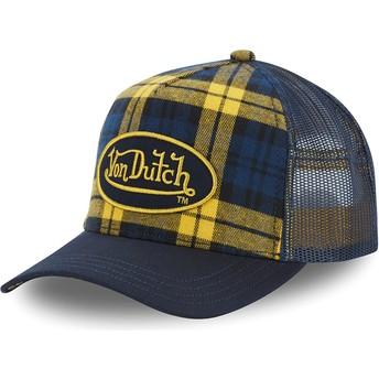 Casquette trucker jaune et bleue à carreaux CAR A4 Von Dutch