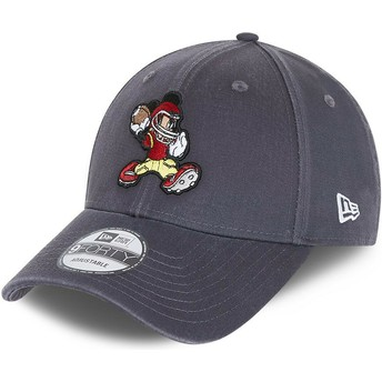Casquette courbée grise ajustable 9FORTY Character Sports Mickey Mouse American Football Disney New Era