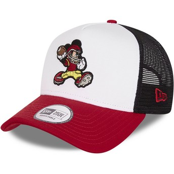 Casquette trucker blanche, noire et rouge Character Sports A Frame Mickey Mouse American Football Disney New Era