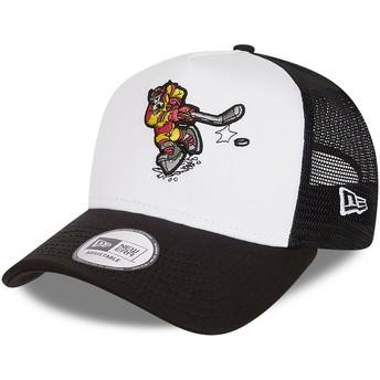 New Era Character Sports A Frame Goofy Ice Hockey Disney White and Black Trucker Hat