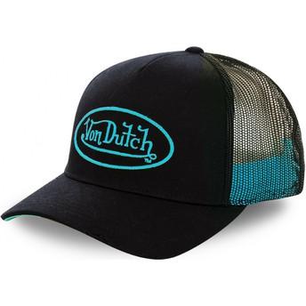 Casquette trucker noire avec logo cyan NEO CYA Von Dutch