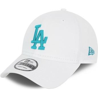 Casquette courbée blanche ajustable avec logo bleu 9FORTY League Essential Los Angeles Dodgers MLB New Era