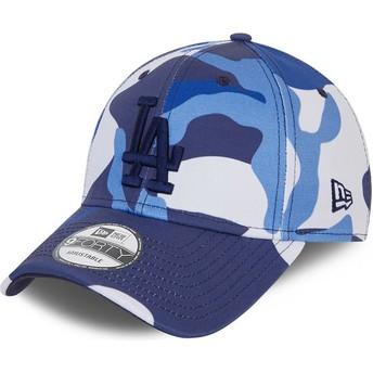 Casquette courbée camouflage bleue ajustable avec logo bleu 9FORTY Los Angeles Dodgers MLB New Era