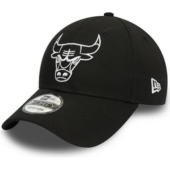 Casquette courbée noire ajustable avec logo blanc 9FORTY League Essential Chicago Bulls NBA New Era