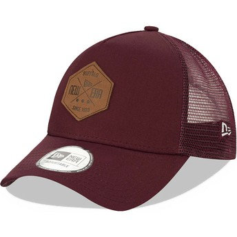 Casquette trucker grenat A Frame 9FORTY Heritage Patch New Era