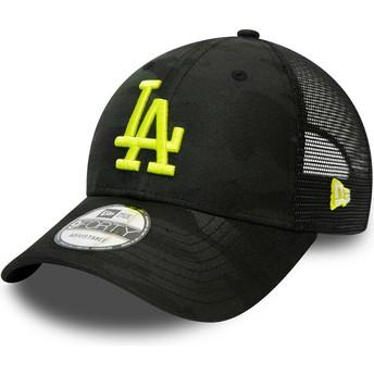 Casquette courbée camouflage noire avec logo jaune ajustable 9FORTY Home Field Los Angeles Dodgers MLB New Era