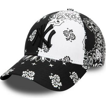New Era Curved Brim Black Logo 9FORTY Paisley Print New York Yankees MLB Black and White Adjustable Cap