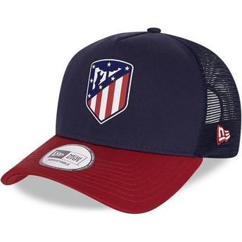 Casquette trucker bleue et rouge Rubber Logo A Frame Atlético de Madrid LFP New Era