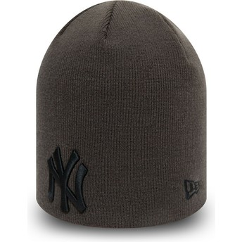 New Era Black Logo Skull Knit League Essential New York Yankees MLB Grey Beanie