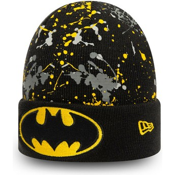 New Era Youth Batman Cuff Knit Paint Splat DC Comics Black Beanie