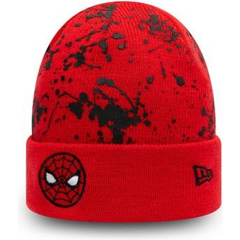 Bonnet rouge pour enfant Cuff Knit Paint Splat Spider-Man Marvel Comics New Era