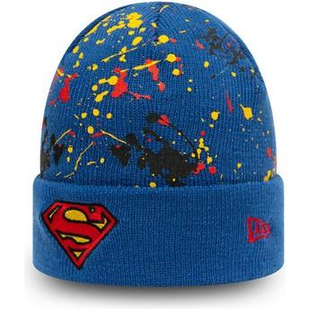 Bonnet bleu pour enfant Cuff Knit Paint Splat Superman DC Comics New Era