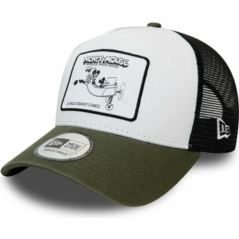 New Era Character Mickey Mouse A Frame Disney White and Green Trucker Hat