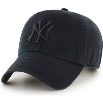 Casquette courbée noire foncé avec logo noir New York Yankees MLB Clean Up 47 Brand