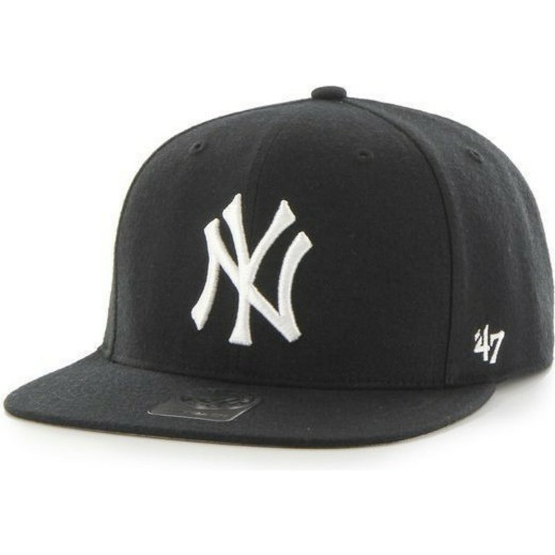 casquette-plate-noire-snapback-unie-mlb-newyork-yankees-47-brand
