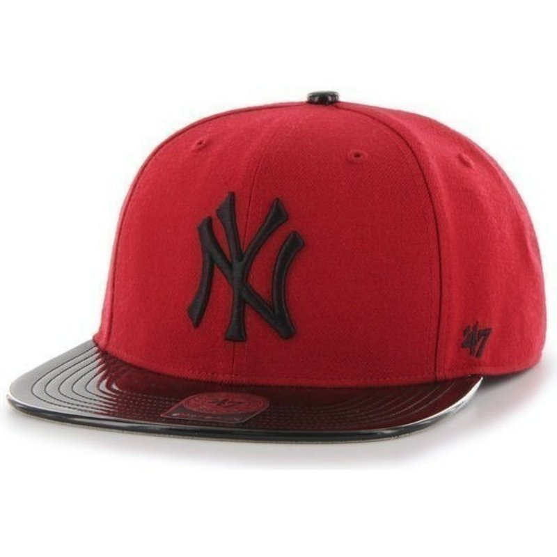 casquette-plate-rouge-snapback-avec-visiere-brillante-mlb-newyork-yankees-47-brand