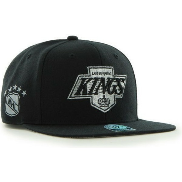 casquette-plate-noire-snapback-unie-nhl-los-angeles-kings-47-brand