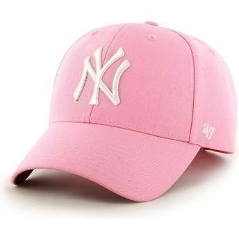 47 Brand Curved Brim MLB New York Yankees Smooth Cap pink