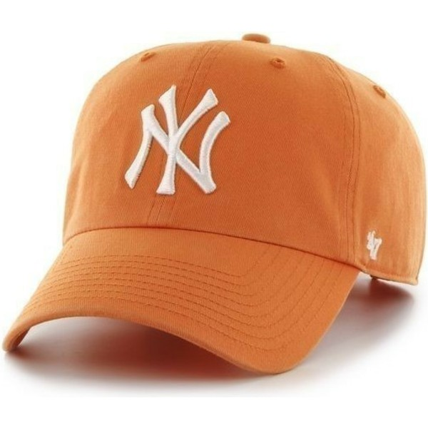 casquette-a-visiere-courbee-orange-avec-grand-logo-frontal-mlb-newyork-yankees-47-brand