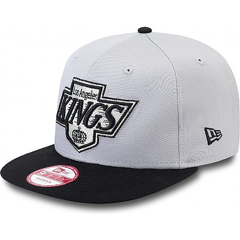 casquette-plate-grise-snapback-ajustable-9fifty-cotton-block-los-angeles-kings-nhl-new-era