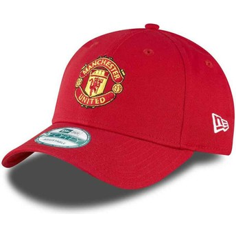Casquette courbée rouge ajustable 9FORTY Essential Manchester United Football Club New Era