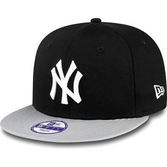 New Era Kinder Flat Brim 9FIFTY Cotton Block New York Yankees MLB Snapback Cap schwarz
